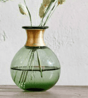 Green Vase With Metal Neck | Ethical Shopping